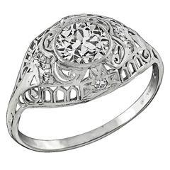 Edwardian 0.87 carat GIA cert Diamond platinum Engagement Ring