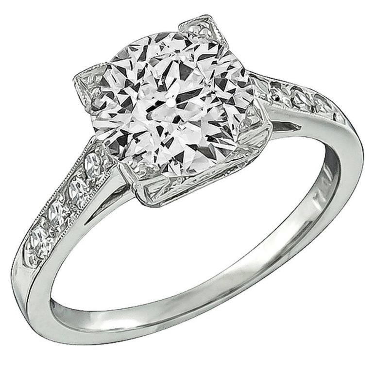 1.64 carat GIA cert Diamond Platinum Engagement Ring For Sale
