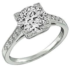 1.64 carat GIA cert Diamond Platinum Engagement Ring