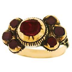Georgian Garnet & Tourmaline Finger Ring in Gold
