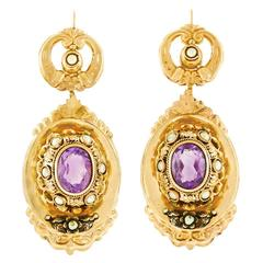 Fabulous Huge Antique Chic Amethyst Pearl Gold Earrings