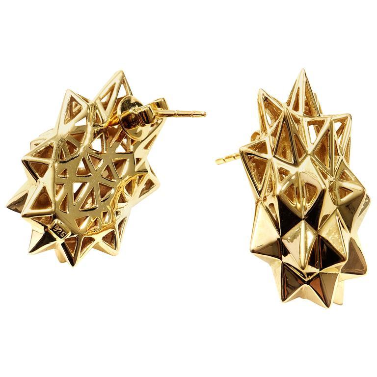 Stellated Gold Stud Earrings