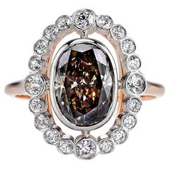 Beautiful 2.41 Carat Brown Oval Cut Diamond gold platinum Engagement Ring