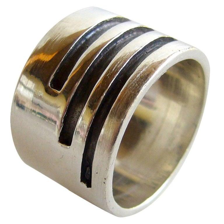 Idella La Vista Sterling Silver American Modernist Gentlemans Ring For Sale