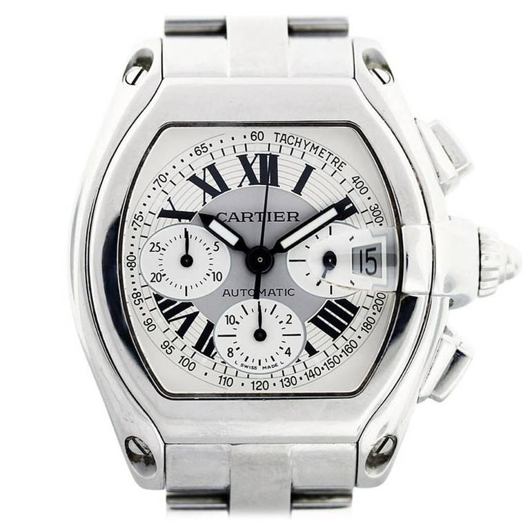 Cartier Stainless Steel Roadster Chronograph Wristwatch Ref W62019X6