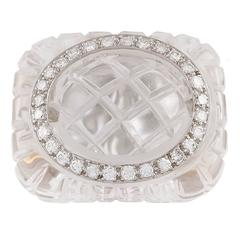 David Webb Diamond and Carved Rock Crystal Ring
