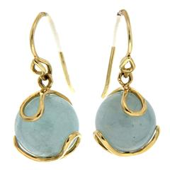 Carina Aquamarine Ball Gold Earrings