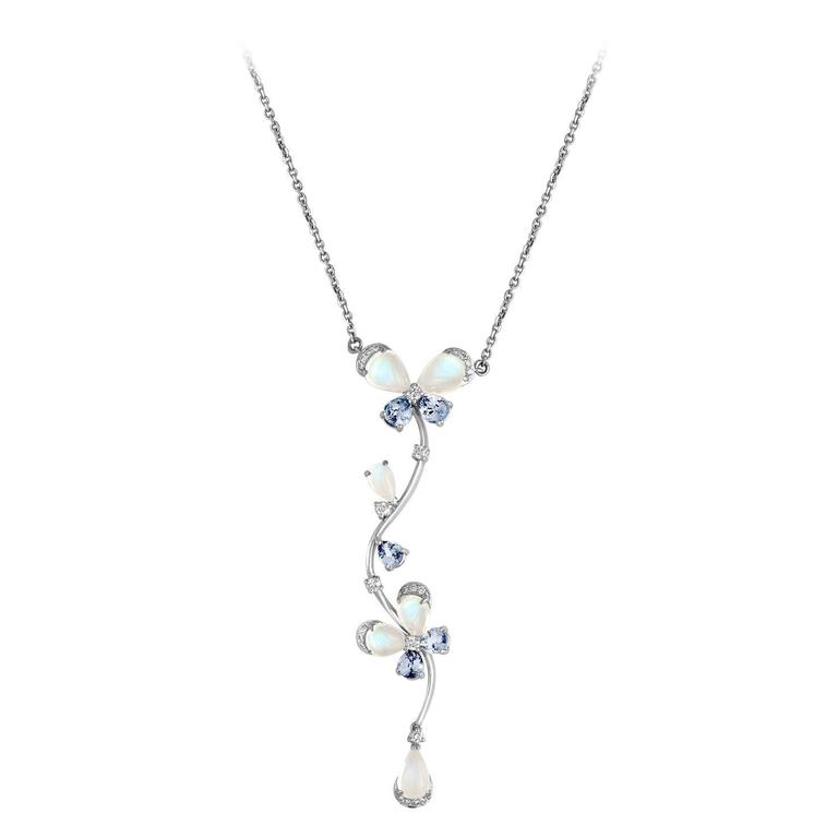 Moonstone Tanzanite Diamond Gold Flower Design Necklace