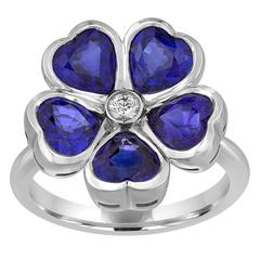 3.92 Carats Sapphire Diamond Gold Flower Ring