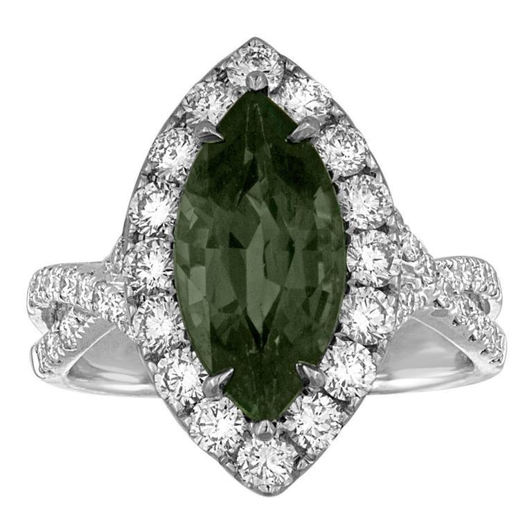 Certified No Heat 3.87 Carat Marquise Green Sapphire Diamond Ring