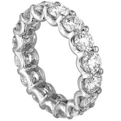 4.25 Carats Round Cut Diamond Platinum Eternity Band Ring