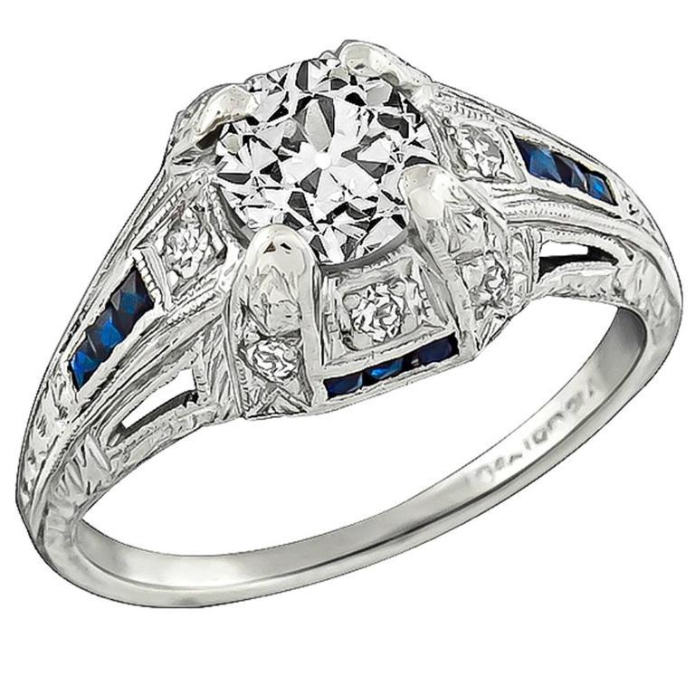 0.65 Old Mine Cut Diamond Sapphire Platinum Engagement Ring