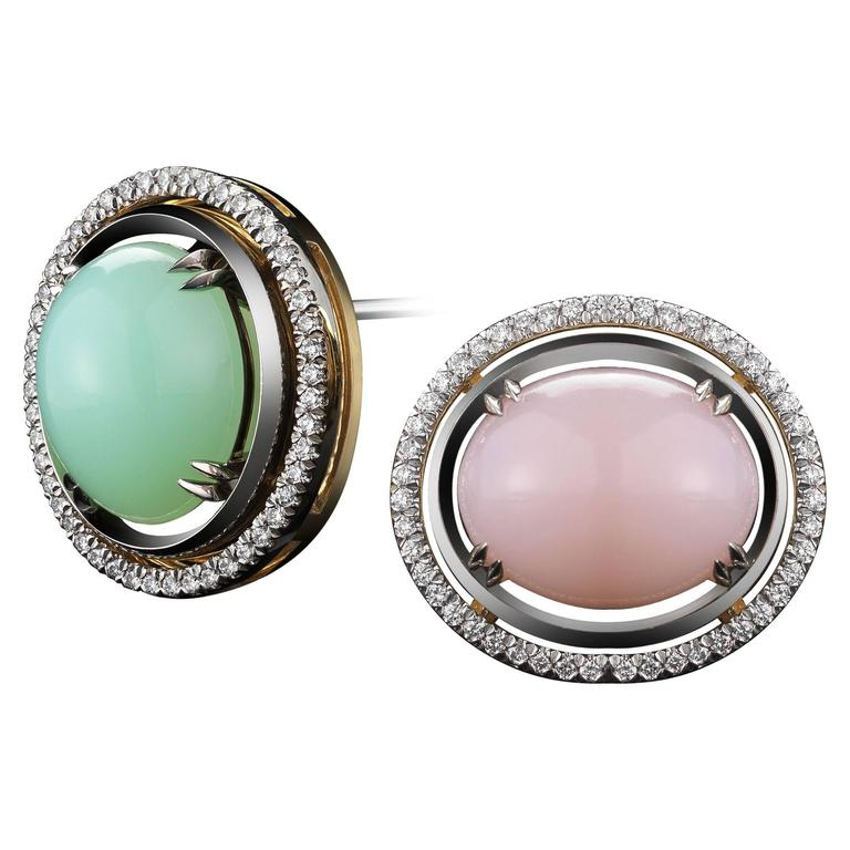 Alexandra Mor Green and Pink Cabochon Opal with Diamond Jacket Earrings For Sale