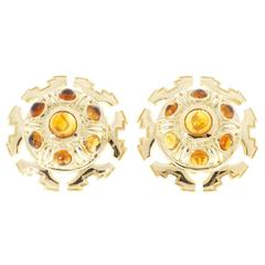 Tiffany & Co. Citrine Cabochon Gold Clip Post Earrings