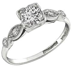 Charming Round Cut Diamond Platinum Engagement Ring