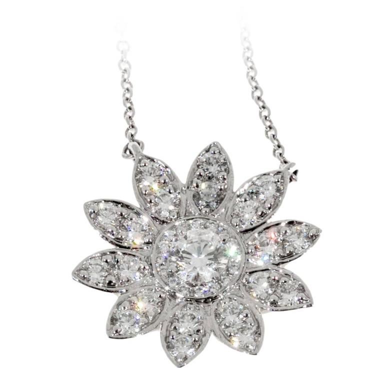 Tiffany and co diamond platinum sunflower pendant necklace at 1stdibs diamond platinum sunflower pendant necklace for sale aloadofball Gallery
