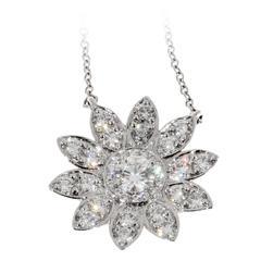 Tiffany & Co. Diamond Platinum Sunflower Pendant Necklace