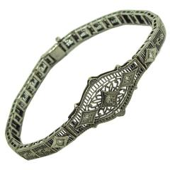 Diamond Gold Filigree Bracelet Art Deco 1930's