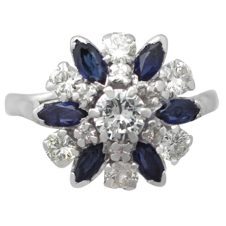 1960s 1.10 Carat Sapphire & 1.20 Carat Diamond White Gold Cluster Ring