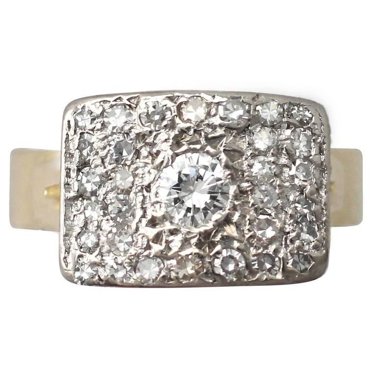 1950s 1.06 Carat Diamond Yellow Gold & White Gold Set Cocktail Ring For Sale