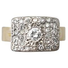 1950s 1.06 Carat Diamond Yellow Gold & White Gold Set Cocktail Ring