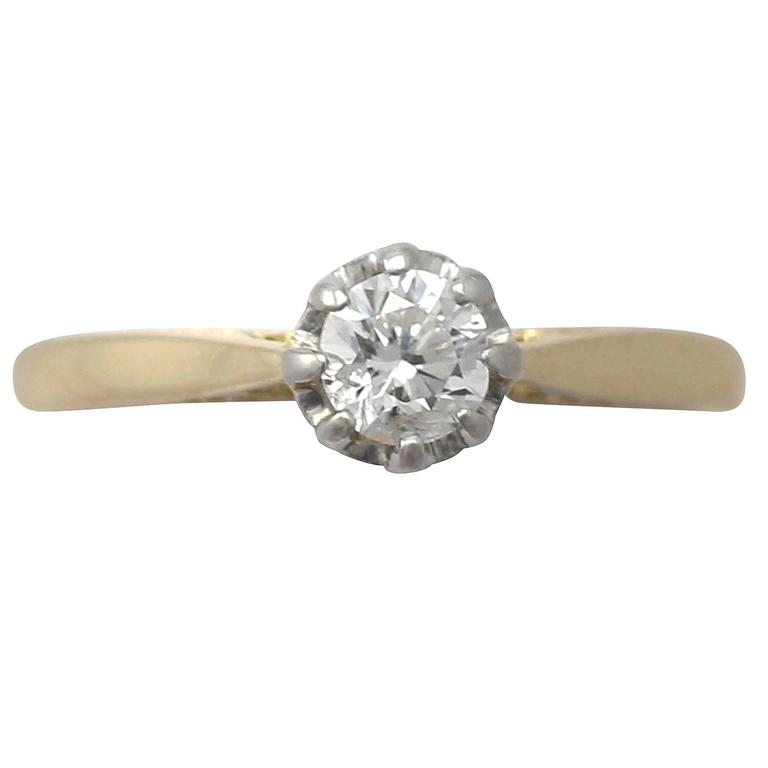 0.38Ct Diamond & 18k Yellow Gold, Platinum Set Solitaire Ring - Vintage