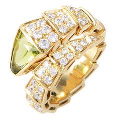 Bulgari Serpenti Peridot Diamond Gold Ring