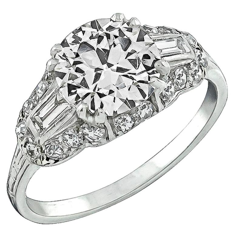Breathtaking 2.05 Carat GIA Cert Diamond Platinum Engagement Ring