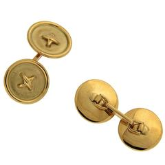 Button and Stitch Cufflinks in Gold
