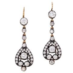 Late Victorian Openwork Diamond Gold Drop Earrings