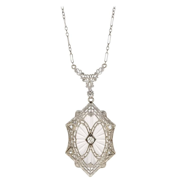 Art Deco Rock Crystal Diamond Gold Filigree Necklace For Sale