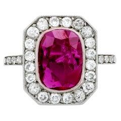 Past Era Belle Époque 1.78 Carat GIA Cert Ruby Diamond Platinum Cluster Ring