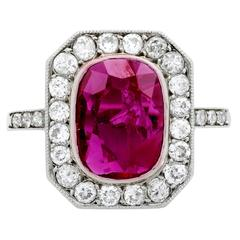 Belle Époque GIA Cert 1.78 Carat Ruby Diamond Platinum Cluster Ring