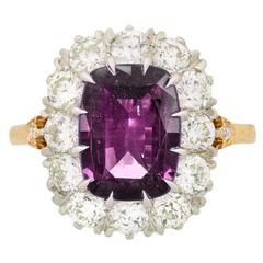 Past Era Victorian Style Alexandrite Diamond Gold Platinum Cluster Ring