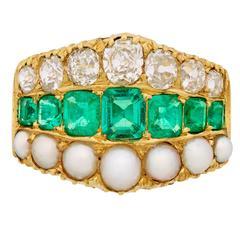 Late Victorian Emerald Split Pearl Diamond Gold Wide Half-Hoop Ring