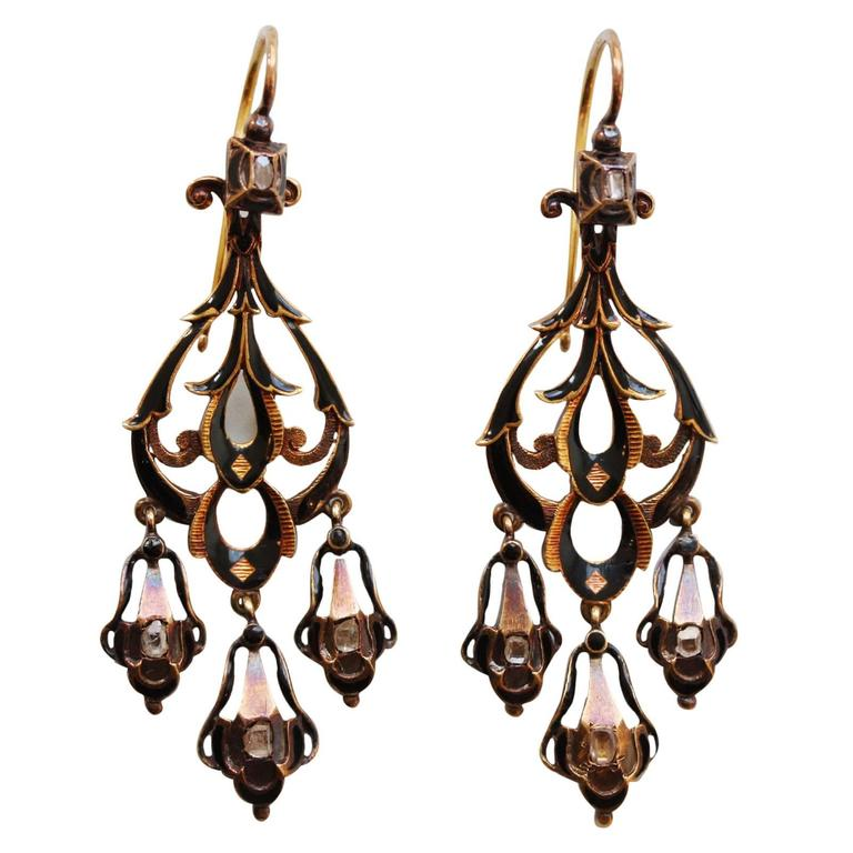 Neo Renaissance Black Enamel Diamond Gold Dangle Earrings For Sale