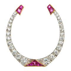 Art Deco Diamond Ruby Gold Platinum Horse Shoe Brooch