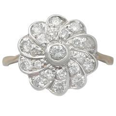 0.68Ct Diamond & 14k Yellow Gold, Silver Set Cluster Ring - Vintage Circa 1940