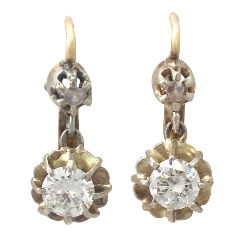 0.54Ct Diamond & 18k Yellow Gold Drop Earrings - Vintage French Circa 1940
