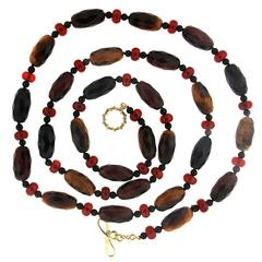 Valentin Magro Tiger's Eye Carnelian Onyx Gold Necklace