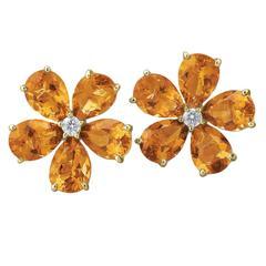 Pear Shaped Citrine Diamond Gold Cluster Earrings