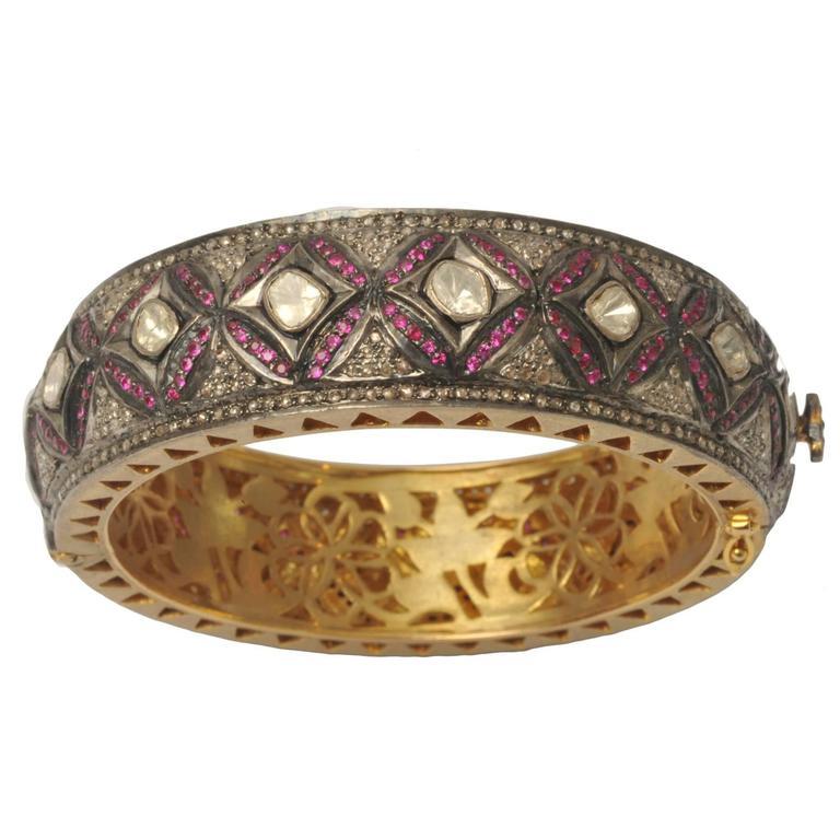 Rosecut Diamonds and Pave`- Set Ruby Hinged Bracelet