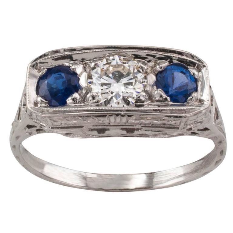 Art Deco Sapphire Diamond Three-Stone Engagement Ring