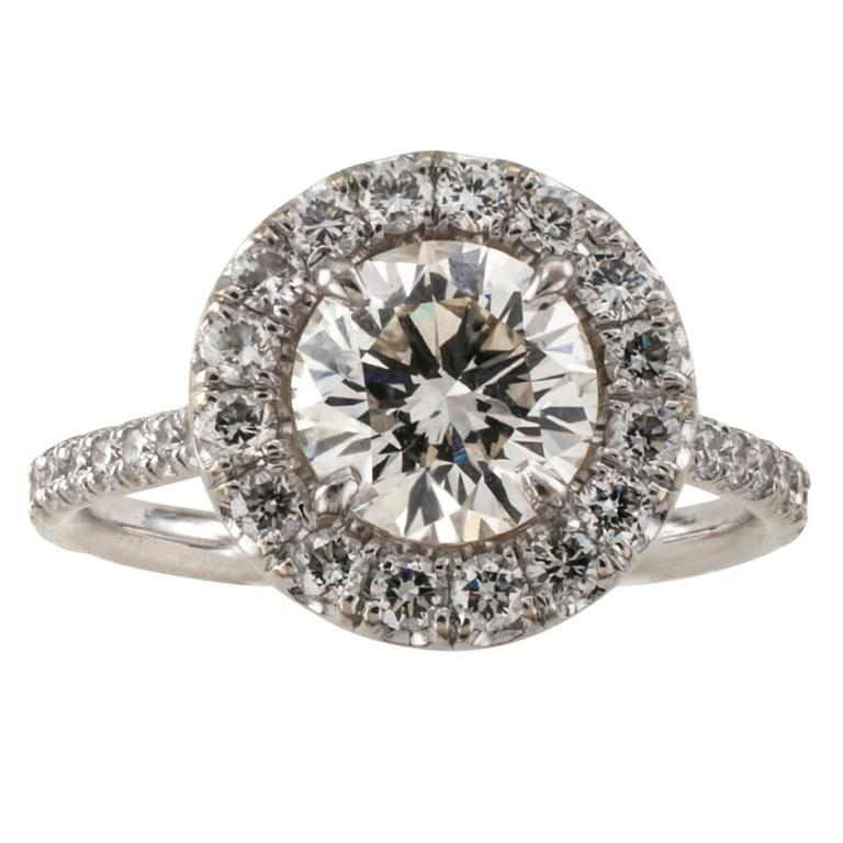 Diamond Halo Engagement Ring For Sale