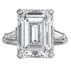 Harry Winston 7.74 Carat Internally Flawless Emerald Cut Diamond Ring