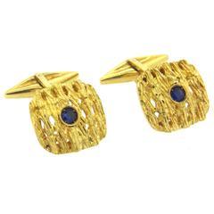 1970s Sapphire Textured Gold Cufflinks