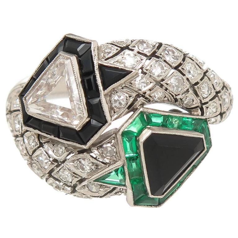 Art Deco emerald onyx diamond Platinum Ring