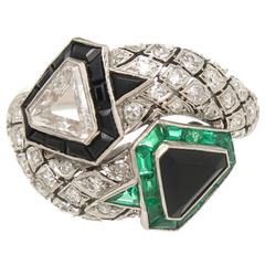 Art Deco emerald onyx diamond Platinum Ring