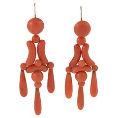 Victorian Coral and Gold Girandole Earrings