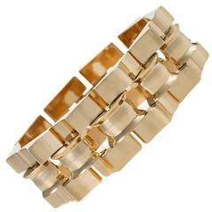 Retro Gold Tank Track Link Bracelet